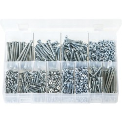 Assortment Box of Machine Screws with Nuts, Round Head, Slotted - BA