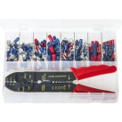 Assortment Box of Terminals Insulated - Red & Blue with Crimping Pliers
