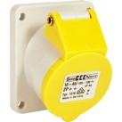 110v Angled Panel Socket - Yellow