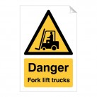 Danger Fork Lift Trucks 240 x 360mm Sticker