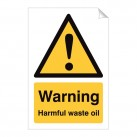 Warning Harmful Waste Oil 240 x 360mm Sticker