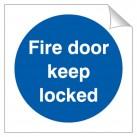 Fire Door Keep Locked 120 x 120mm Sticker