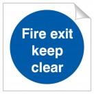 Fire Exit Keep Clear 120 x 120mm Sticker