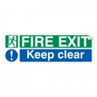 Fire Exit Keep Clear 150 x 450mm Sticker
