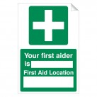 Your First Aider Is 240 x 360mm Sticker