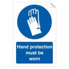 Hand Protection Must Be Worn 240 x 360mm Sticker