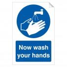 Now wash your hands 240 x 360mm Sticker