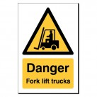 Danger Fork Lift Trucks 240 x 360mm Sign